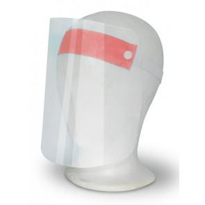Gesichtsschutzvisier aus transparentem Kunststoff, rosa Stirnband mit elastischem Kopfband